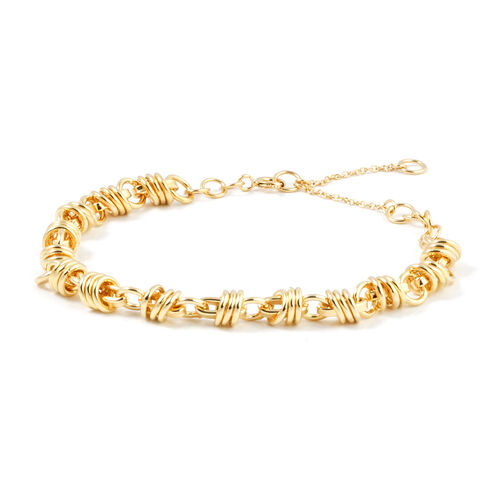 JCK Vegas Collection Yellow Gold Overlay Sterling Silver Bracelet (Size 7.5 with 2 inch Extender), Silver wt 18.05 Gms.