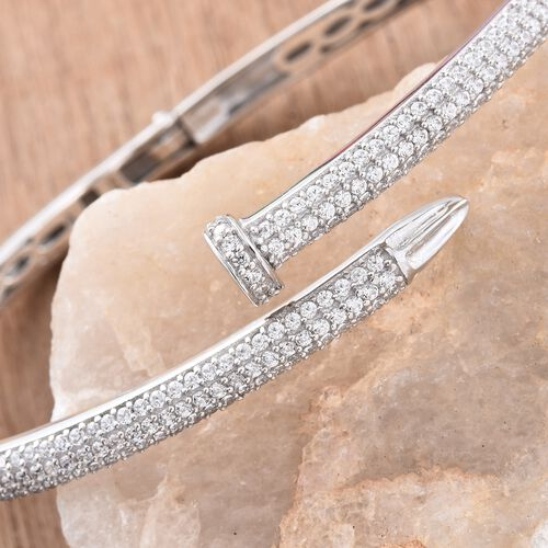 J Francis - Signature Collection Platinum Overlay Sterling Silver (Rnd) Nail Bangle (Size 7.5) Made with SWAROVSKI ZIRCONIA. 200 pcs of Swarovski Zirconia Studded, Silver wt. 18.11 Gms.