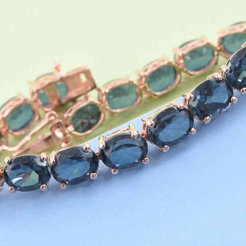 Indicolite Triplet Quartz (Ovl) Tennis Bracelet (Size 7.5) in Rose Gold Overlay Sterling Silver 35.500 Ct.