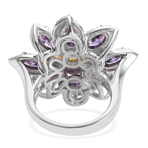 Crystal from Swarovski - Light Rose Crystal (Rnd), Simulated Citrine and Simulated Amethyst Floral Ring in ION Plated Platinum Bond