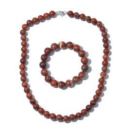 Red Jasper Ball Necklace (Size 20) and Stretchable Bracelet (Size 7.5) in Platinum Overlay Sterling Silver 465.010 Ct.