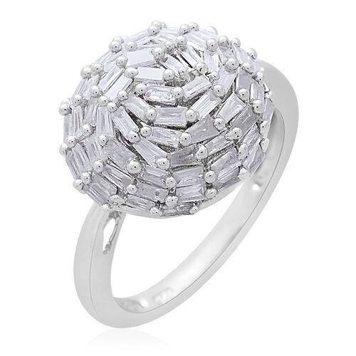 Diamond (Bgt) Cluster Ring in Platinum Overlay Sterling Silver 1.000 Ct.