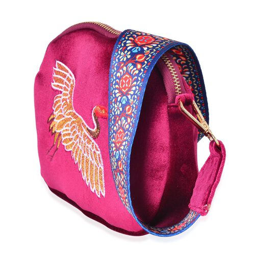 Golden and Multi Colour Flying Crane Embroidered Velvet Crossbody Bag with Colourful and Removable Shoulder Strap (Size 20X17X3.5 Cm)