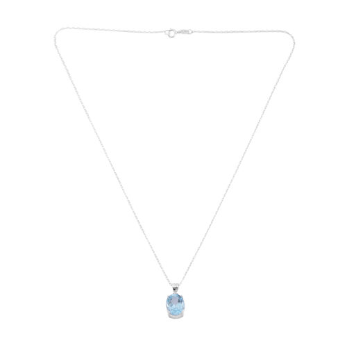 Stocking Fillers-Blue Topaz (Ovl 12x10 MM) Solitaire Pendant with Chain in Sterling Silver 5.000 Ct.