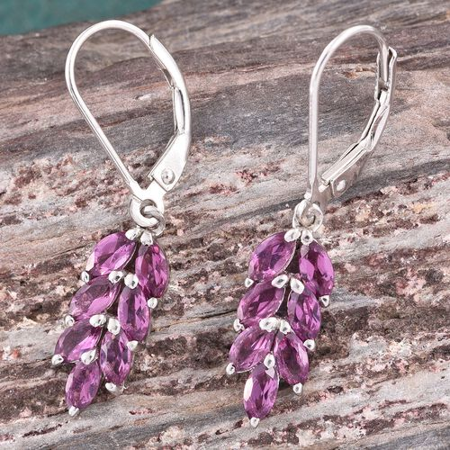 Rare Mozambique Grape Colour Garnet (Mrq) Dangling Lever Back Earrings in Platinum Overlay Sterling Silver 2.500 Ct.
