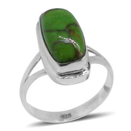 Royal Bali Collection Mojave Green Turquoise Solitaire Ring in Sterling Silver 7.030 Ct.