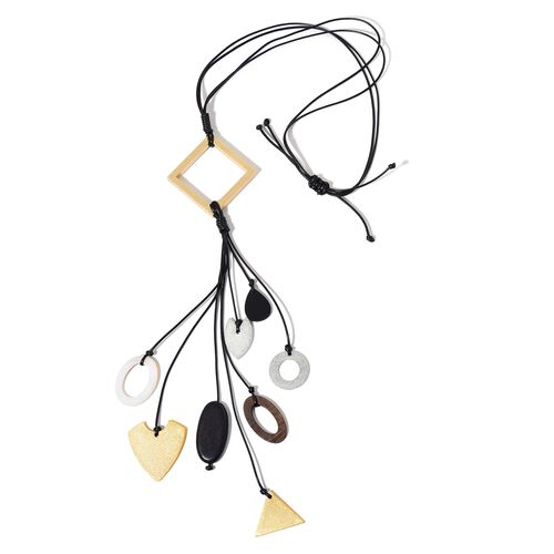 White Shell and Wooden Multi Charm Adjustable Necklace (Size 32) in Dual Tone