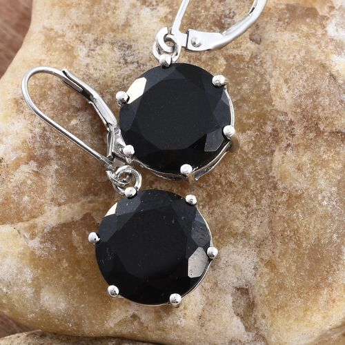 Black Tourmaline (Rnd) Lever Back Earrings in Platinum Overlay Sterling Silver 12.500 Ct.