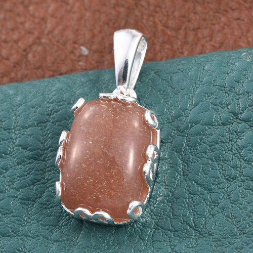 Peach Moonstone (Cush) Solitaire Pendant in Sterling Silver 7.750 Ct.