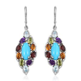 6.25 Ct Sleeping Beauty Turquoise, Mozambique Garnet, Hebei Peridot and Multi Gemstone Leaf Lever Back Earrings in Platinum Plated Silver 9.53 grams