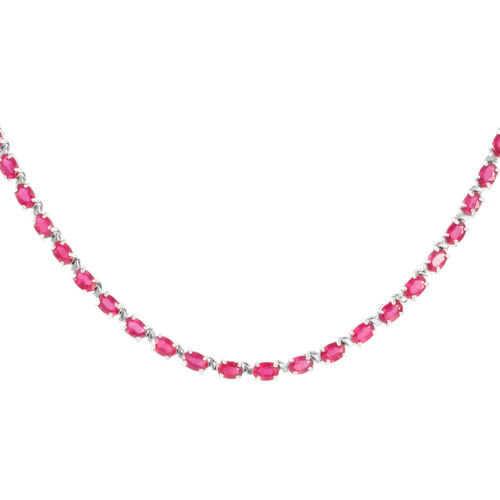 AAA African Ruby (Ovl) Necklace (Size 18) in Rhodium Plated Sterling Silver 42.000 Ct.