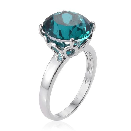 Capri Blue Quartz (Rnd) Ring in Platinum Overlay Sterling Silver 10.500 Ct.