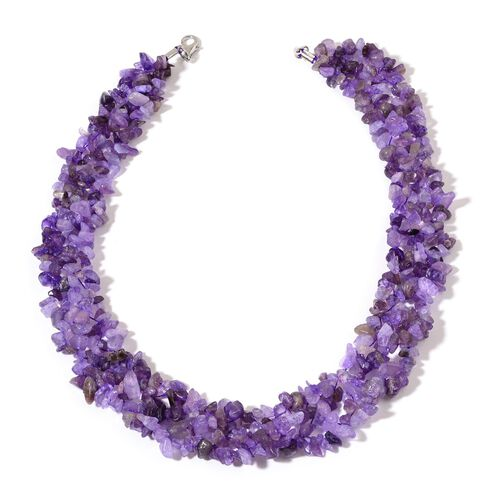 Amethyst Necklace (Size 18) and Stretchable Bracelet (Size 7.50) in Rhodium Plated Sterling Silver 834.750 Ct.
