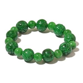 Very Rare Hand Carved Green Jade Stretchable Bracelet (Size 7) 250.00 Ct.