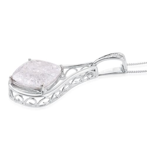 Diamond Crackled Quartz (Cush), Diamond Pendant With Chain in Platinum Overlay Sterling Silver 10.520 Ct.