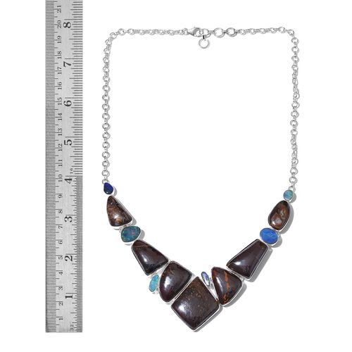 One Off A Kind- Boulder Opal Rock and Opal Double Necklace (Size 18 with 1 inch Extender) in Sterling Silver 155.210 Ct. Silver wt 24.06 Gms.