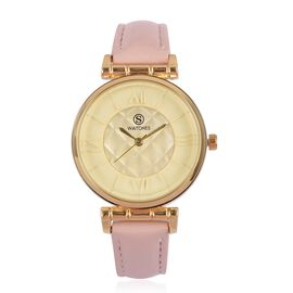 STRADA Japanese Movement Rhombus Pattern Golden Dial Water Resistant Watch in Yellow Gold Tone with Light Pink Colour Strap