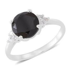 Boi Ploi Black Spinel (Rnd 3.25 Ct), Natural White Cambodian Zircon Ring in Sterling Silver 3.500 Ct.