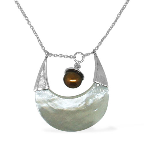Royal Bali Collection Mother of Pearl and Fresh Water Pearl Necklace (Size 18) in Sterling Silver 10.670 Ct.