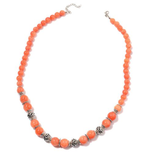 Orange Enhanced Quartzite Necklace (Size 20 with 2 inch Extender) and Stretchable Bracelet (Size 7.50) in Silver Tone 211.000 Ct.