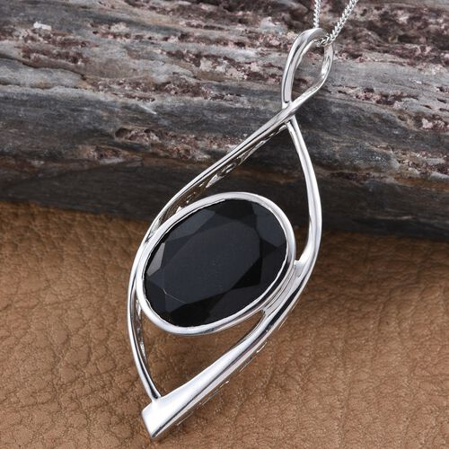 Black Tourmaline (Ovl) Solitaire Pendant with Chain in Platinum Overlay Sterling Silver 9.000 Ct.