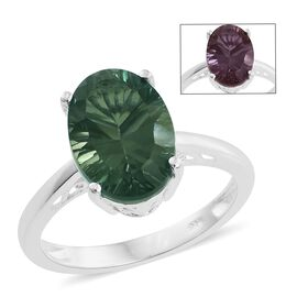 Colour Change Alexandrite Quartz (Ovl) Solitaire Ring in Sterling Silver 6.500  Ct.