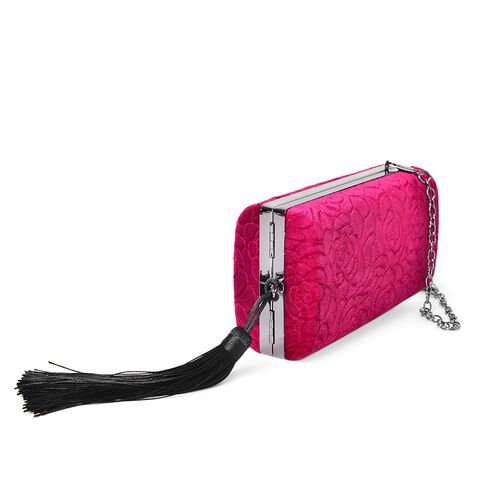 Fuchsia Colour Rose Pattern Velvet Clutch Bag with Chain Strap in Black Tone (Size 16X8.5X5.5 Cm)