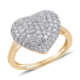 9K Yellow Gold SGL Certified Diamond (Rnd) (I2-I3/G-H) Heart Ring 1.000 Ct.