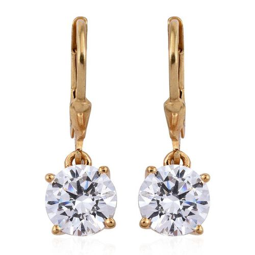 J Francis -14K Gold Overlay Sterling Silver (Rnd) Earrings Made with SWAROVSKI ZIRCONIA