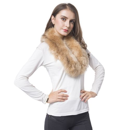Designer Inspired- Brown Colour Faux Fur Collar Scarf (Size 82X14 Cm)