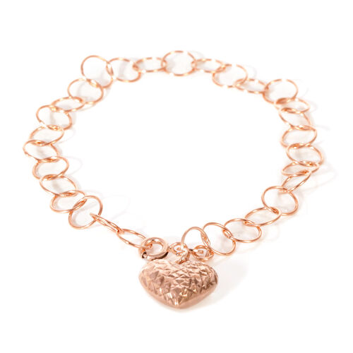 JCK Vegas Collection - Designer Inspired - Rose Gold Overlay Sterling Silver Open Circle Bracelet with Heart Charm, Silver wt 3.50 Gms. Size 7.5