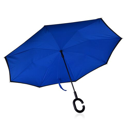 Reverse Folding Double Layer C-Handle Umbrella with Royal Blue-Black (Size-88 Cm)