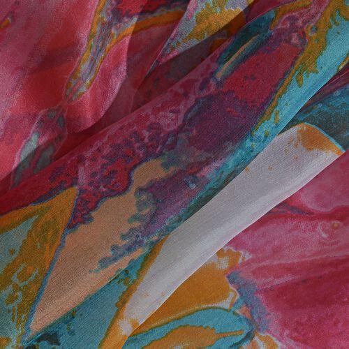 100% Mulberry Silk Peach, Green and Multi Colour Handscreen Tulip Printed Scarf (Size 200X180 Cm)