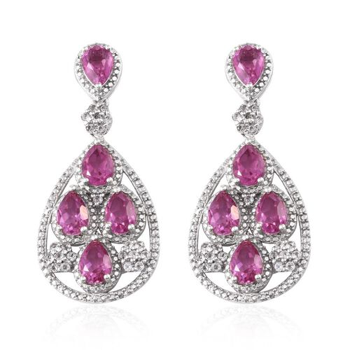 Kunzite Colour Quartz (Pear), White Topaz Earrings (with Push Back) in Platinum Overlay Sterling Silver 10.000 Ct.