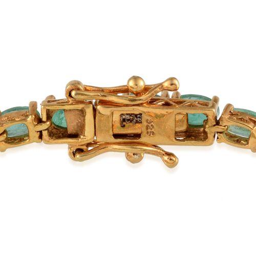 Kagem Zambian Emerald (Ovl) Bracelet in 14K Gold Overlay Sterling Silver (Size 7) 7.500 Ct.