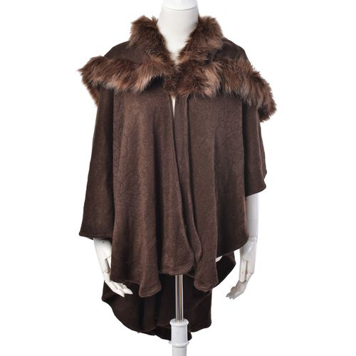 Designer Inspired- Luxe Style Chocolate Colour Cape with Faux Fur Collar (Free Size)