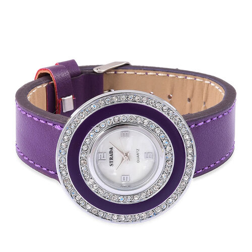 Time Piece Pick Of the Show Deal  - STRADA Japanese Movement Mother of Pearl Watch With Interchangeable Bezels - Purple Strap