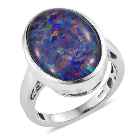 Australian Boulder Opal (Ovl) Solitaire Ring in Platinum Overlay Sterling Silver 6.250 Ct.