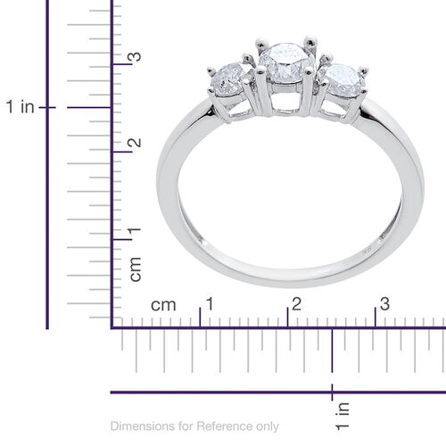 9K White Gold SGL Certified 1 Carat Diamond (I3/ G-H) 3 Stone Ring.