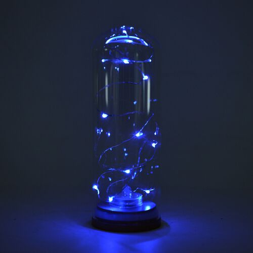 Fantasy Collection - Ocean Colour Magical LED Display in Glass Jar with a Wooden Base and Two Litium Batteries (Size 18.4x6.5 Cm)