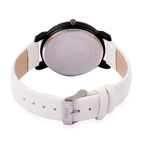 STRADA Japanese Movement White Strardust Dial Watch with White Austrian Crystal in Black Tone with Stainless Steel Back