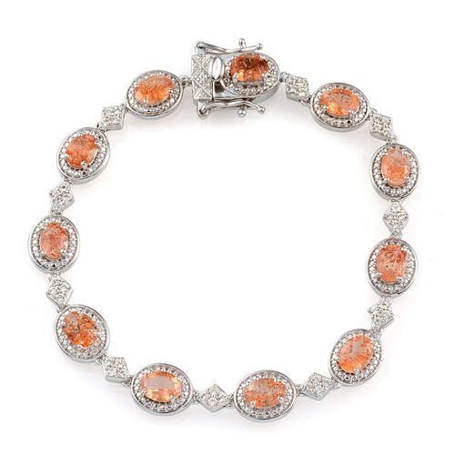 Tanzanian Sun Stone (Ovl), White Topaz Bracelet in Platinum Overlay Sterling Silver (Size 7.5) 9.000 Ct.