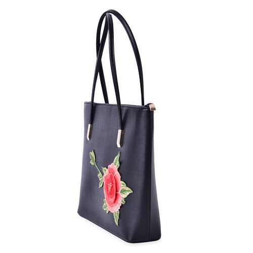Black Colour with Embroidered 3D Floral Pattern Tote Bag (Size 36x28x8 Cm)
