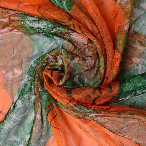 40% Mulberry Silk Orange and Green Colour Butterfly Pattern Scarf (Size 170X105 Cm)