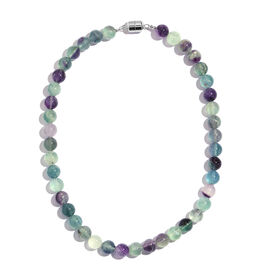 Natural Multi Colour Rare Fluorite (Rnd) Beads Necklace (Size 18)  with Magnetic Clasp in Rhodium Plated Sterling Silver 450.000 Ct.