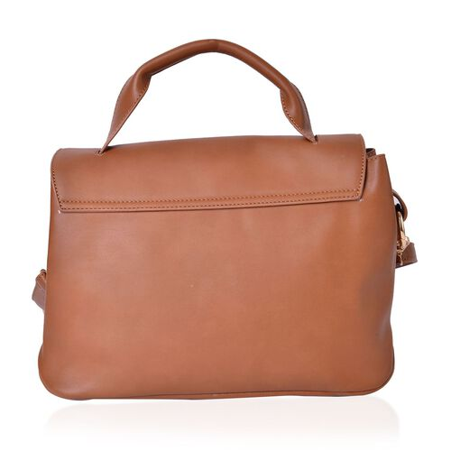 Camel and Beige Colour Crossbody Bag with Adjustable and Removable Shoulder Strap (Size 30X22X2 Cm)