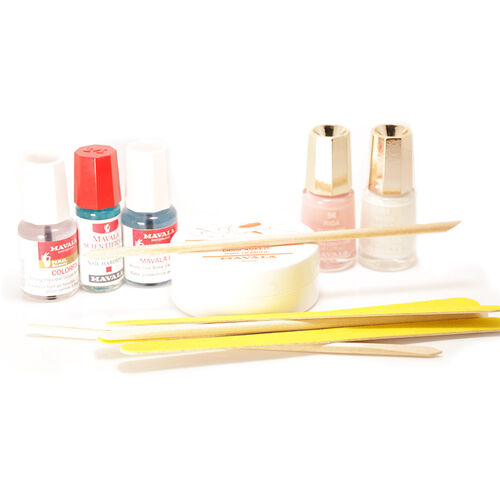 Mavala French Manicure Kit- Scientifique Nail Hardener 2ml, 002 Base Coat 5ml Colorfix 5ml Colour Riga 5ml Colour White 5ml, Nail Polish Remover Pads, Orange Sticks, Emery Boards