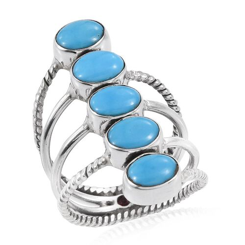 Arizona Sleeping Beauty Turquoise (Ovl), Burmese Ruby Ring in Sterling Silver 3.50 Ct.