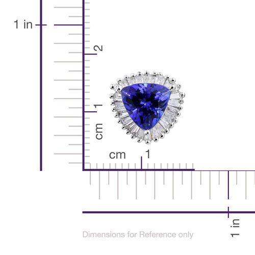 ILIANA 18K W Gold AAA Tanzanite (Trl), Diamond (SI/G-H) Stud Earrings (with Screw Back) 1.500 Ct.