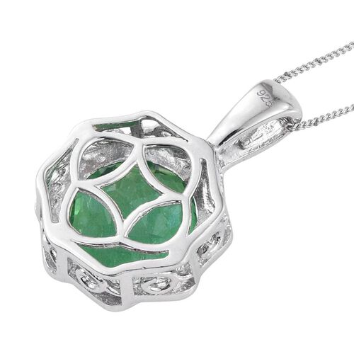 Peacock Quartz (Rnd) Solitaire Pendant with Chain in Platinum Overlay Sterling Silver 8.250 Ct.